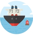 Round with colored cargo ship logistics icon vector image vector image