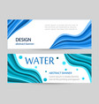 set bright banners with blue wave line on white vector image vector image