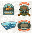 set hunting club badge concept vector image vector image