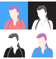 set of 4 portraits of young girls woman icons vector image