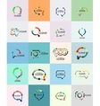 Set of flat linear design speech cloud logos Talk vector image