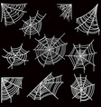 set of halloween spider web on dark background vector image vector image