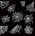 set of halloween spider web on dark background vector image vector image