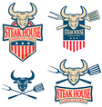 steak house labels set vector image vector image