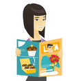 successful asian business woman reading magazine vector image vector image