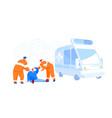 urgency ambulance help paramedic occupation road vector image