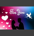 valentines day background silhouette couple vector image