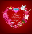 valentines day heart with gifts ring flowers vector image vector image