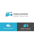 Video content busuness logo design in three colors vector image vector image
