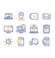 weather phone messenger mail and checklist icons vector image vector image