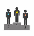 winner athletes standing on the podium vector image vector image