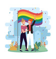women couple with rainbow flag to community vector image vector image