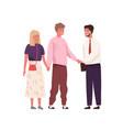 young couple meeting and shaking hands with real vector image