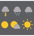 Weather icons on dark background vector image