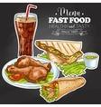 fast food menu on a black board vector image
