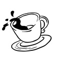 simple black and white coffee cup spill vector image