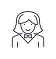waitress woman line icon sign vector image