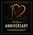 10 years Anniversary black background vector image