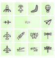 14 fly icons vector image vector image