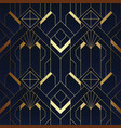 abstract art deco seamless blue and golden pattern vector image vector image
