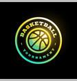 basketball league logo with ball green color vector image