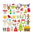 Big Flat Style Collection of Merry Christmas vector image vector image