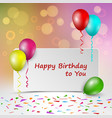 birthday card with sign and colorful balloons vector image vector image