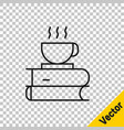 black line coffee cup and book icon isolated on vector image vector image