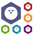 Bowling rhombus icons vector image vector image