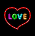 bright heart neon sign retro neon heart sign on vector image vector image