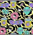 bright seamless pattern 80s 90s style vector image vector image