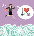 Business woman jump into a lot of documents with vector image vector image