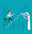 businessman running up stairs vector image