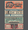 car parts registration plates and engine cables vector image vector image