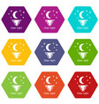 clear night icons set 9 vector image
