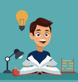 color background with boy student with book in vector image