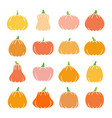 colorful halloween pumpkin flat design icon set vector image vector image