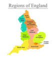 colorful map of england with outline on white vector image vector image