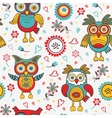 Cute colorful pattern with owls and flowers vector image