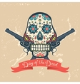 Day of the dead card with vintage skull and guns vector image vector image