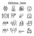 delicious food icon set in thin line style vector image