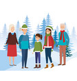 family members in the snowscape vector image
