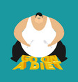 fat guy go on a diet glutton thick man fatso vector image