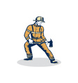 Fireman Firefighter Standing Holding Fire Axe vector image vector image