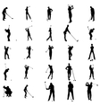 Golfer silhouette set icons simple style vector image