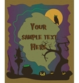 Halloween poster with witch pumpkins and owl vector image