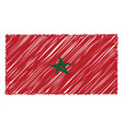hand drawn national flag of morocco isolated on a vector image vector image