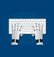 hands of robot on computer keyboard vector image