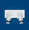 hands robot on computer keyboard vector image
