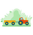 harvesting transport tractor with trailer vector image vector image